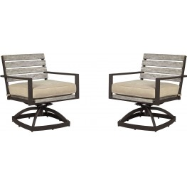 Peachstone Beige and Brown Swivel Chair Set of 2