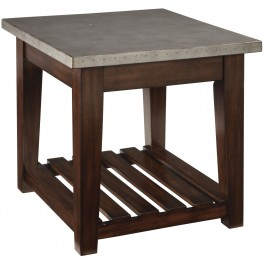 Bynderman Brown and Silver Rectangular End Table