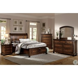 Cumberland Brown Cherry Storage Sleigh Bedroom Set