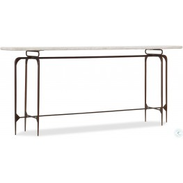 Skinny White and Cream Metal Console Table