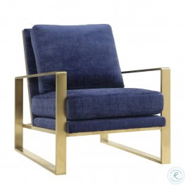Mott Navy Slub Velvet Chair