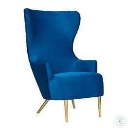Julia Navy Wingback Velvet Chair