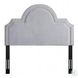 Laylah Grey Velvet Full Platform Headboard