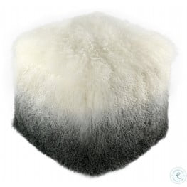 Tibetan White and Grey Sheep Pouf