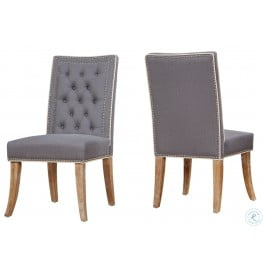 Garrett Grey Linen Dining Chair Set of 2