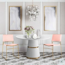 Rosa White Round Dining Room Set with Domani Leather Chair