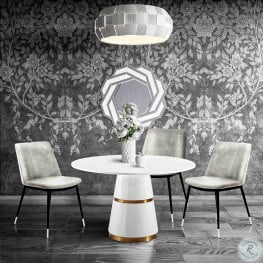Rosa White Round Dining Room Set with Evora Chair