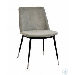 Evora Grey Velvet and Silver Chair Set of 2