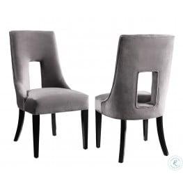 Lipstick Grey Velvet Dining Chair Set of 2