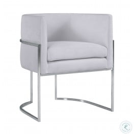 Giselle Grey Velvet Dining Chair with Silver Base