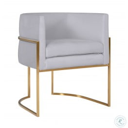 Giselle Grey Velvet Dining Chair with Gold Base