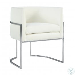 Giselle Cream Velvet Dining Chair with Silver Base