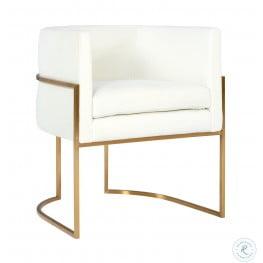Giselle Cream Velvet Dining Chair with Gold Base