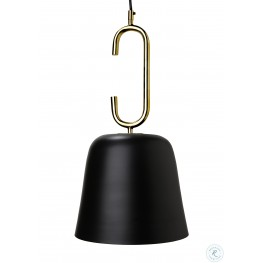 Chic Black and Brass Long Pendant