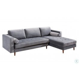Como Grey Velvet LAF Sectional