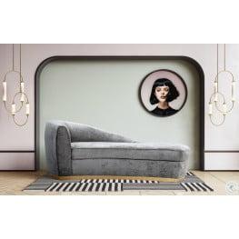 Adele Slub Grey Velvet Chaise
