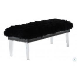 Luxe Black Sheepskin Lucite Bench