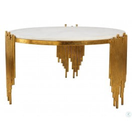 Waterfall White Marble Cocktail Table