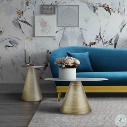 Tempo Marble Gold and White Occasional Table Set