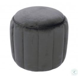 Ives Grey Velvet Ottoman
