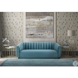 Arno Sea Blue Velvet Sofa