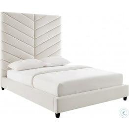 Javan Cream Velvet Queen Upholstered Platform Bed