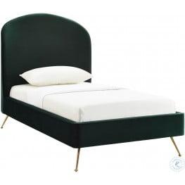 Vivi Forest Green Velvet Twin Upholstered Platform Bed