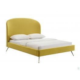 Vivi Burnt Gold Velvet Queen Upholstered Platform Bed