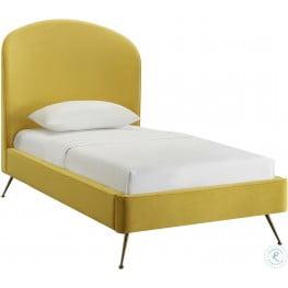 Vivi Burnt Gold Velvet Twin Upholstered Platform Bed