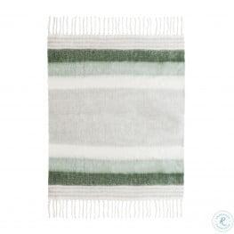 Afrino Wool Green And White Throw