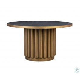 """Kali Black And Antique Brass 55"""" Round Dining Table"""