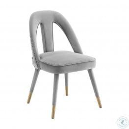 Petra Light Grey Velvet Side Chair