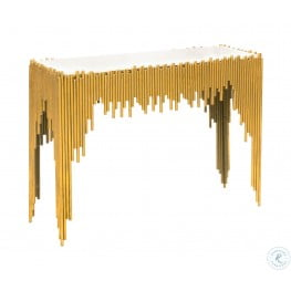 Waterfall White Marble Top Console Table