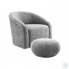 Boboli Grey Chenille Chair And Ottoman