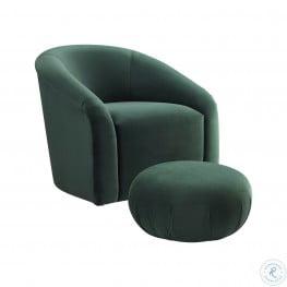 Boboli Forest Green Velvet Chair And Ottoman