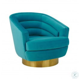 Canyon Blue Velvet Swivel Chair