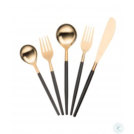 Stainless Steel Rose Gold And Black 20 PC Flatware Set